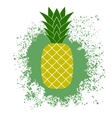 Fresh Ripe Pineapple on Green Splatter vector image