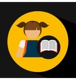 girl uniform school open book icon vector image vector image