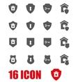 grey home security icon set vector image vector image