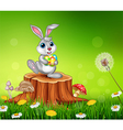 Happy little bunny holding Easter eggs vector image