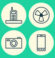 hardware icons set collection of telephone vector image