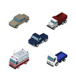 isometric automobile set of first-aid lorry auto vector image vector image