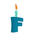 letter f birthday font letter and candle vector image vector image