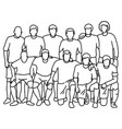 male soccer football team taking photo vector image vector image