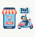 man courier riding motorbike fast delivery vector image