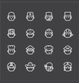 occupation white icon set 1 on black background vector image vector image