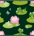 pattern of funny frogs on a flowering pond vector image
