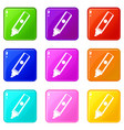 permanent marker icons 9 set vector image