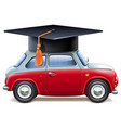 red car with square academic cap vector image vector image