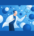researching scientist doctor in lab coat checks vector image