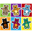 Seamless cartoon bear patchwork vector image