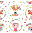 seamless pattern with flowers and animals vector image