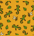 seamless pattern with lizards bees and leaves vector image