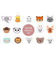 set cute hand drawn smiling animals characters vector image