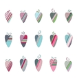 Set of different vintage tilda hearts isolated on vector image vector image