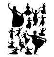silhouette indian dancer vector image vector image