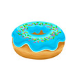 sweet donut with blue glaze and multi-colored vector image vector image