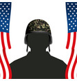 united stated flag with soldier and helmet vector image vector image