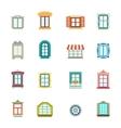 Vintage windows set Flat exterior icons vector image vector image