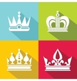 White crown icons on color background vector image
