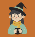 Witch Holding Mug vector image vector image