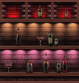 wooden shelves with alcohol vector image vector image