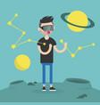 young man wearing virtual reality glasses vector image
