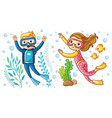a boy and a girl swim under the water vector image