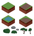 Set of cartoon isometric ground elements for games vector image