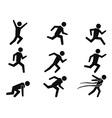 runner stick figure icons set vector image