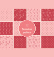 abstract flowers hearts circles set of seamless vector image