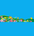 ladybird and butterfly nature field with green vector image