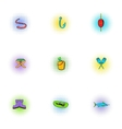 Angling icons set pop-art style vector image