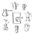 beverage sketch icons around coffee machine vector image vector image