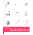 black bathroom icon set vector image vector image