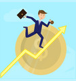 businessman running on growth arrow dollar coing vector image