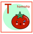 cartoon alphabet flashcard t is for tomato flat vector image