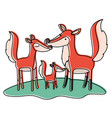 cartoon fox couple and cub over grass in vector image vector image