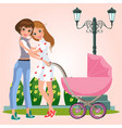 cartoon pretty lesbian partners hugging in park vector image vector image