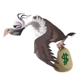 Cartoon vulture carries bag with money dollar vector image vector image