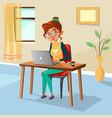 cartoon woman freelancer student laptop vector image