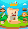 Castle theme with king and princess vector image vector image