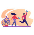 characters walk on roller skates with smartphones vector image