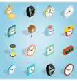 Clock set icons isometric 3d style vector image vector image