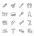 collection monochrome shoe repair equipment linear vector image vector image