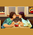 couple eating noodle vector image vector image