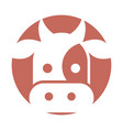 cow head isolated icon vector image vector image