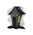 creepy stone house with yellow lights in windows vector image