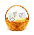 Dairy products in wicker basket isolated on white vector image vector image