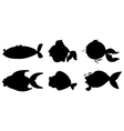 Different fishes in black color vector image vector image